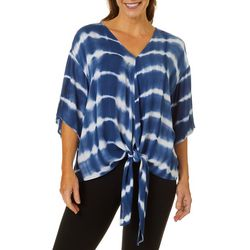 Hailey Lyn Womens Tie Dye Tie Front Flutter Sleeve Top