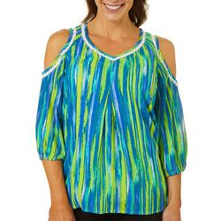 Hailey Lyn Womens Stripe Print Gauze Cold Shoulder Top