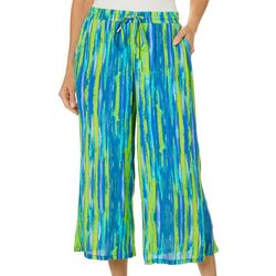 Womens Graphic Stripe Print Gauze Capris