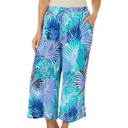 Hailey Lyn Womens Palm Print Gauze Capris