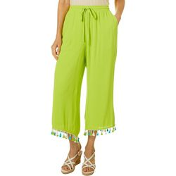 Hailey Lyn Womens Solid Tassle Trim Gauze Capris