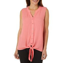 Hailey Lyn Womens Solid Tie Front Sleeveless Top