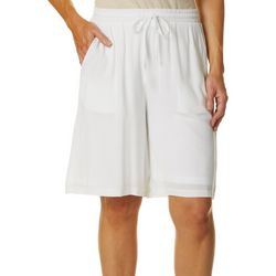 Hailey Lyn Womens Solid Drawstring Bermuda Shorts