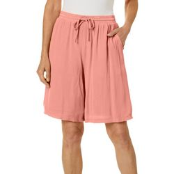 Hailey Lyn Womens Solid Drawstring Pull-On Shorts