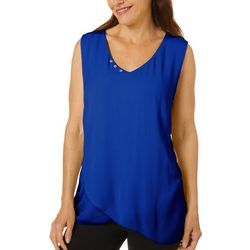 Hailey Lyn Womens Solid Gauze Sleeveless V-Neck Top