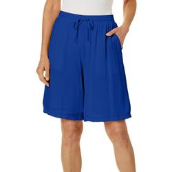 Womens Solid Drawstring Pull-On Shorts