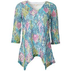 Hailey Lyn Womens Mesh Floral Print V-Neck Top