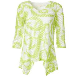 Hailey Lyn Womens Mesh Swirl Print V-Neck Top