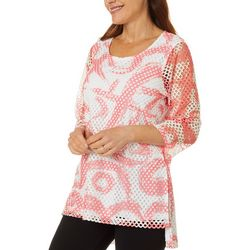 Hailey Lyn Womens Mesh Dot Print Round Neck Top