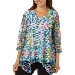 Hailey Lyn Womens Mesh Graphic Print V-Neck Top
