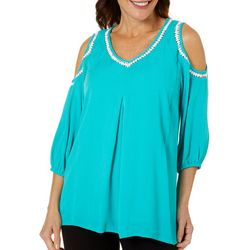 Hailey Lyn Womens Gauze Cold Shoulder Top