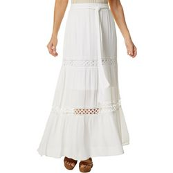 Hailey Lyn Womens Crochet & Gauze Maxi Skirt