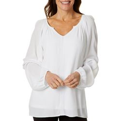 Hailey Lyn Womens Embroidered Long Sleeve Peasant Top