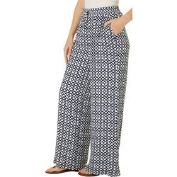 Hailey Lyn Womens Geo Print Gauze Wide Leg Pants