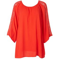 Hailey Lyn Womens Solid Lace 3/4 Sleeve Top