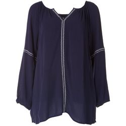 Hailey Lyn Womens Solid Relaxed Long Sleeve Blouse
