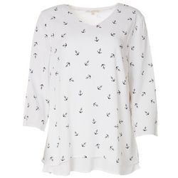 Hailey Lyn Womens Anchor Print 3/4 Sleeve Top