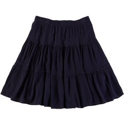 Hailey Lyn Womens Solid Three Tiered Skirt