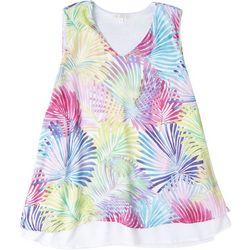 Hailey Lyn Womens Rainbow Palm Layered Sleeveless Top
