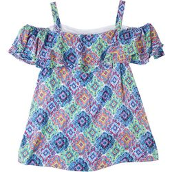 Hailey Lyn Womens Coloful Printed Open Shoulder Top