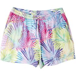 Hailey Lyn Womens Rainbow Palm Gauze Shorts