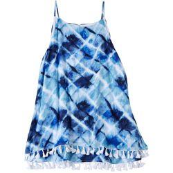 Hailey Lyn Womens Tye Dye Sleeveless Top With Tassles