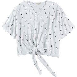 Hailey Lyn Woman Anchor Tie Front Short Sleeve