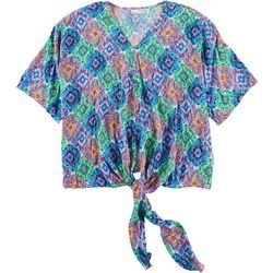 Hailey Lyn Womens Printed Tie Top