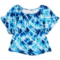 Hailey Lyn Womens Tie-Dye Pattern Off The Shoulder Top