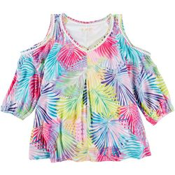 Hailey Lyn Womens Rainbow Fronds Cold Shoulder Top