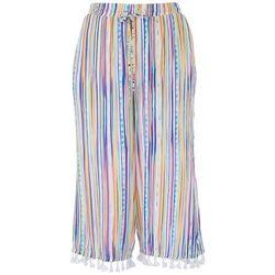 Hailey Lyn Womens Tassel Gauze Striped Capris