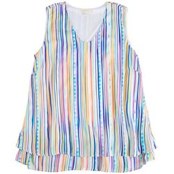 Hailey Lyn Womens Layered Sleeveless Striped Top