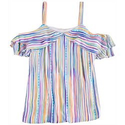 Hailey Lyn Womens Cold Shoulder Striped Top