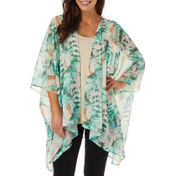 Hailey Lyn Womens Floral Fern Print Kimono Top