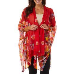 Womens Floral Lily Print Kimono Top