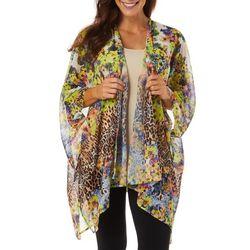 Womens Mixed Floral Animal Print Kimono Top