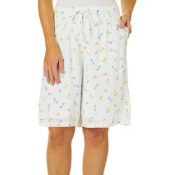 Hailey Lyn Womens Martini Print Drawstring Bermuda Shorts