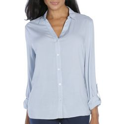 Caribbean Joe Womens Solid Button Down Long Sleeve