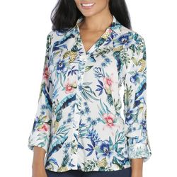 Caribbean Joe Womens Tropical Button Down Long Sleeve Top