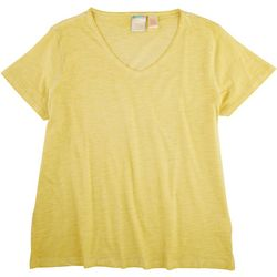 Stella Parker Womens Solid V-Neck T-Shirt