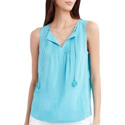 Stella Parker Womens Solid Pleated Tassel Tank