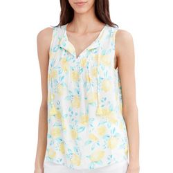 Stella Parker Womens Lemon Pleated Tassel Tank