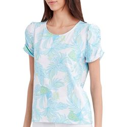 Stella Parker Womens Pineapple Ruched Sleeve Top