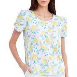 Stella Parker Womens Lemon Ruched Sleeve Top