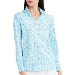 Stella Parker Womens Seashell Quarter Zip Long Sleeve Top