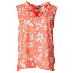 Caribbean Joe Womens Floral Ruffled Tank