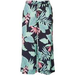 Caribbean Joe Womens Tropical Wide Leg Fabric Pants