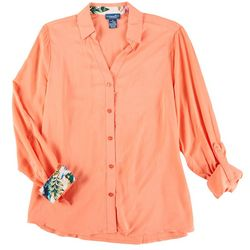 Caribbean Joe Womens Solid Button Down Long Sleeve Top