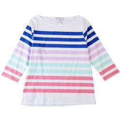 Stella Parker Womens Striped Boat Neck Top