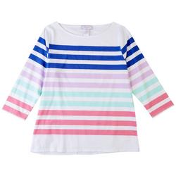 Womens Striped Boat Neck Top